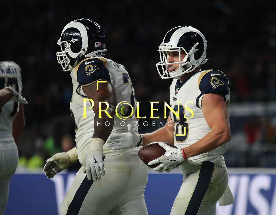 LONDON, ENGLAND - OCTOBER 22: Los Angeles Rams wide receiver Cooper Kupp (18) celebrates scoring a touchdown during the NFL match between the Arizona Cardinals and the Los Angeles Rams at Twickenham Stadium on October 22, 2017 in London, United Kingdom. (Photo by Mitchell Gunn/ESPA-Images) *** Local Caption *** Cooper Kupp