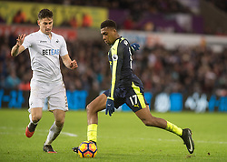SWANSEA, WALES - Saturday, January 14, 2017: <br /> Arsenal's Alex Iwobi second goal against Swansea City during the FA Premier League match at the Liberty Stadium. (Pic by Gwenno Davies/Propaganda)