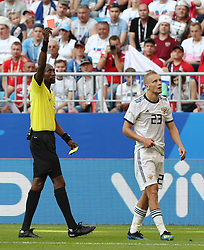 SAMARA, June 25, 2018  The referee gives a red card to Igor Smolnikov (R) of Russia during the 2018 FIFA World Cup Group A match between Uruguay and Russia in Samara, Russia, June 25, 2018. (Credit Image: © Bai Xueqi/Xinhua via ZUMA Wire)