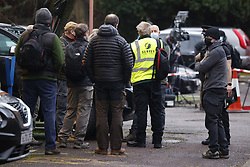 © Licensed to London News Pictures. 02/02/2021. Woking, UK. Volunteers gather for a briefing at Woking fire station agreed of delivering of Covid test kits in the Goldsworth Park area in Surrey, where some cases of the South African variant of Covid-19 have been found. Public health England are carry out surge testing for selected parts of the Goldsworth Park, St Johns and Knaphill areas of Woking. Photo credit: Peter Macdiarmid/LNP