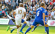 Bafetimbi Gomis of Swansea City has a spectacular effort  at the Everton goal in the first half.<br /> Barclays Premier League match, Swansea city v Everton at the Liberty Stadium in Swansea, South Wales on Saturday 19th September 2015.<br /> pic by Phil Rees, Andrew Orchard sports photography.