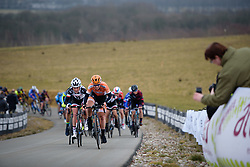 Amy Pieters leads up the VAMberg at Drentse 8 van Westerveld 2018 - a 142 km road race on March 9, 2018, in Dwingeloo, Netherlands. (Photo by Sean Robinson/Velofocus.com)