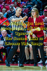 NORMAL, IL - February 07: Mark Berger explains a situation to Andrea Gorski who doesnít seem interested in the visual explanation during a college women's basketball game between the ISU Redbirds and the Braves of Bradley University February 07 2020 at Redbird Arena in Normal, IL. (Photo by Alan Look)