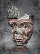 Ancient Egyptian statue head of a monarch, limestone, Middle Kingdom, mid 12th Dynasty, (1900-1850 BC), Qqw el-Kebir, tomb of Ibu. Egyptian Museum, Cat 4410 Turin.