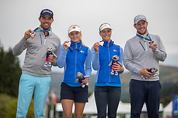 Sweden 2 with their Bronze medals after a playoff victory, L to R Oscar Floren Julia Engstrom, Johanna Gustavsson and Daniel Jennevret during day ten of the 2018 European Championships at Gleneagles PGA Centenary Course.