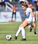 St. Louis University defender Ali Klug scores on a penalty kick inside the goal box. St. Louis University defeated George Washington in the championship game of the Atlantic 10 Conference Women's Soccer Tournament at Robert Hermann Stadium at St. Louis University on Sunday November 10, 2019.<br /> Photon by Tim Vizer