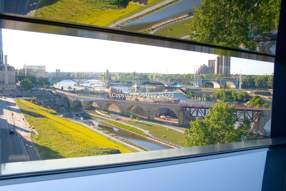 View of Historic Stone Arch Bridge and Mississippi River from Endless Bridge of Guthrie Theater.  Minneapolis Minnesota USA