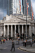 With very few people out and about the scene in the City of London financial district is one of empty desolation outside the Royal Exchange near the Bank of England as the national coronavirus lockdown three continues on 29th January 2021 in London, United Kingdom. Following the surge in cases over the Winter including a new UK variant of Covid-19, this nationwide lockdown advises all citizens to follow the message to stay at home, protect the NHS and save lives.