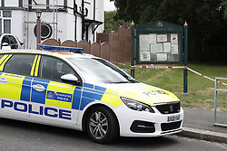 © Licensed to London News Pictures. 08/06/2020. London, UK. Police guard an entrance to Fryent Country Park in Wembley. According to reports, two women were found unresponsive and were pronounced dead at the scene yesterday. Photo credit: Peter Macdiarmid/LNP