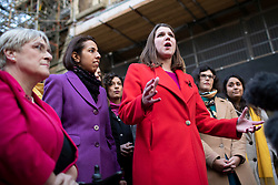 © Licensed to London News Pictures. 04/11/2019. London, UK. Leader of the Liberal Democrats Jo Swinson speaks to media about not being included in the televised leaders debate during the general election.  Photo credit: George Cracknell Wright/LNP