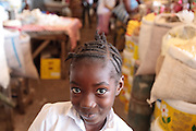 Portrait of a girl at Nancy B. Doe market in Monrovia, Montserrado county, Liberia on Thursday April 5, 2012.