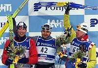 LAHTIS 010218 - SKIDVM<br />Skid-vm pŒgŒr fšr fullt med herrarnas 30 km klassisk stil mŒndagen 19 februari i Lahtis i Finland.<br />Bilden: Frode Estil frŒn Norge tog silver, Andrus Veerpalu frŒn Estland tog guld och Mikhail Ivanov frŒn Ryssland tog brons.<br />Foto: Henrik Montgomery  Kod: 1066<br />** F-BILD **<br />COPYRIGHT PRESSENS BILD<br />DIGITAL KAMERA