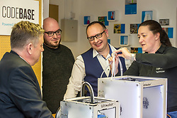 Pictured: Keith Brown with Stuart Brown (white shirt) Head of SME Barclays banking, Scotland and Stephen Coleman, CEO and founder of Codebase watch as engineer Sharon Jones, ensures the 3-d printer is operational.<br /> Today Keith Brown MSP opened Scotland's first Barclays Eagle lab in partnership with CodeBase. The resource allows businesses and communities to access new technologies and boost digital skills while supporting job creation in the local economy. <br /> <br /> Ger Harley   EEm 16 January 2018