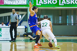 Zeljko Zagorac (C) of KK Helios Suns  and Daniel Vujasinovic of KK Zlatorog during basketball match between KK Zlatorog and KK Helios Suns in 1st match of Nova KBM Slovenian Champions League Final 2015/16 on May 29, 2016  in Dvorana Zlatorog, Lasko, Slovenia.  Photo by Ziga Zupan / Sportida