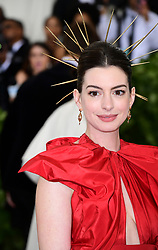 Anne Hathaway attending the Metropolitan Museum of Art Costume Institute Benefit Gala 2018 in New York, USA. PRESS ASSOCIATION Photo. Picture date: Picture date: Monday May 7, 2018. See PA story SHOWBIZ MET Gala. Photo credit should read: Ian West/PA Wire