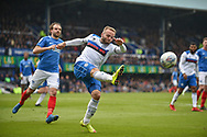 Rochdale Defender, Ryan McLaughlin (2) with a clearance  during the EFL Sky Bet League 1 match between Portsmouth and Rochdale at Fratton Park, Portsmouth, England on 13 April 2019.