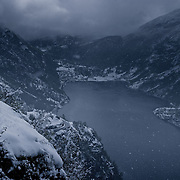 Three weeks aboard the Kong Harald. Hurtigruten, the Coastal Express. The Geirangerfjord, the most fabulous fjord and the city of Geiranger, under the snow.