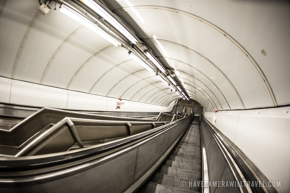 Escalators in the London Underground. London, United Kingdom.