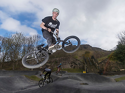 "A new bike park for mountain bikers has opened in the centre of Edinburgh. The Skelf Bike park has a 900m2 ""Pump Track"" of banked corners and mounds. The park opens today and had professional riders trying out the new track.<br /> <br /> Pictured: Sean James Mcgilly who rides with the Twenty 20 team"