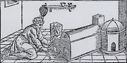 Condensing mercury vapour that has been distilled from mercury-bearing ore.  From 'De la pirotechnia' by Vannoccio Biringuccio (Venice, 1540).