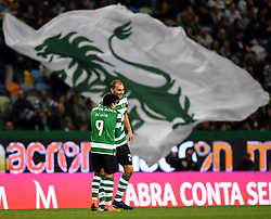 LISBON, April 23, 2018  Dost (R) of Sporting celebrates with Marcos Acuna during Portuguese League soccer match between Sporting CP and Boavista FC in Lisbon, Portugal, on April 22, 2018. Sporting won 1-0.  wll) (Credit Image: © Zhang Liyun/Xinhua via ZUMA Wire)