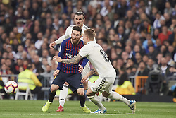 March 2, 2019 - Madrid, Madrid, Spain - Toni Kroos (midfielder; Real Madrid), Lionel Messi (forward; Barcelona), Gareth Bale (midfielder; Real Madrid) in action during La Liga match between Real Madrid and FC Barcelona at Santiago Bernabeu Stadium on March 3, 2019 in Madrid, Spain (Credit Image: © Jack Abuin/ZUMA Wire)