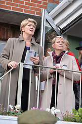 CLARE BALDING and ALICE ARNOLD at the 2015 Hennessy Gold Cup held at Newbury Racecourse, Berkshire on 28th November 2015.