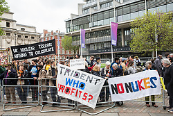 London, UK. 3 May, 2019. Campaigners from Campaign For Nuclear Disarmament (CND), Stop the War Coalition, the Peace Pledge Union, the Quakers and other faith groups protest opposite Westminster Abbey against the holding of a National Service of Thanksgiving to mark fifty years of the Continuous at Sea Deterrent (CASD) attended by dignitaries including the Duke of Cambridge and the newly appointed Defence Secretary Penny Mordaunt.