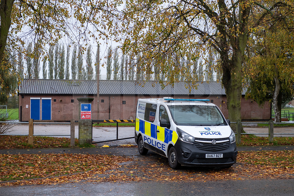 © Licensed to London News Pictures. 29/10/2020. Aylesbury, UK. A police vehicle parked next to Edinburgh Playing Fields in Aylesbury. Thames Valley Police have launched a murder investigation following an incident in Aylesbury. At approximately 21:30GMT on Wednesday 28/10/2020 police officers were called to Lembrook Walk, Aylesbury not far from the Edinburgh Playing Fields following reports that two men had been assaulted. A man in his twenties was taken to hospital with serious injuries where he later died. Photo credit: Peter Manning/LNP