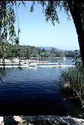Barcelona Olympics 1992 - Lake Banyoles, SPAIN,  GV's,  Crews boating, start pontoon, round the lake,  Photo: Peter Spurrier/Intersport Images.  Mob +44 7973 819 551/email images@intersport-images.com.       {Mandatory Credit: © Peter Spurrier/Intersport Images].