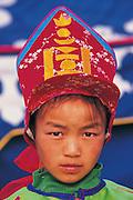 Female Jockey<br /> Naadam festival horse race<br /> Jockey's aged 4-12 years and most often girls<br /> Ulaanbaatar race track<br /> Mongolia