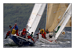 Yachting- The first days inshore racing  of the Bell Lawrie Scottish series 2002 at Tarbert Loch Fyne. Near perfect conditions saw over two hundred yachts compete. <br />Equinox - X 332  IRL1332 and Tartan Revolution Projection 920 GBR9203R.<br />Class 3<br />Pics Marc Turner / PFM