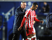 Football - 2020 / 2021 Sky Bet Championship - Queens Park Rangers vs Stoke City - The Kiyan Prince Foundation Stadium<br /> <br /> Stoke Manager, Michael O'Neill gives a pat on the back to Tom Ince after the match<br /> <br /> COLORSPORT/ANDREW COWIE