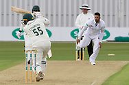 Mark Cosgrove drives Ravi Rampaul during the Specsavers County Champ Div 2 match between Leicestershire County Cricket Club and Derbyshire County Cricket Club at the Fischer County Ground, Grace Road, Leicester, United Kingdom on 27 May 2019.
