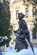 Bronze statue in a park Bucharest, Romania
