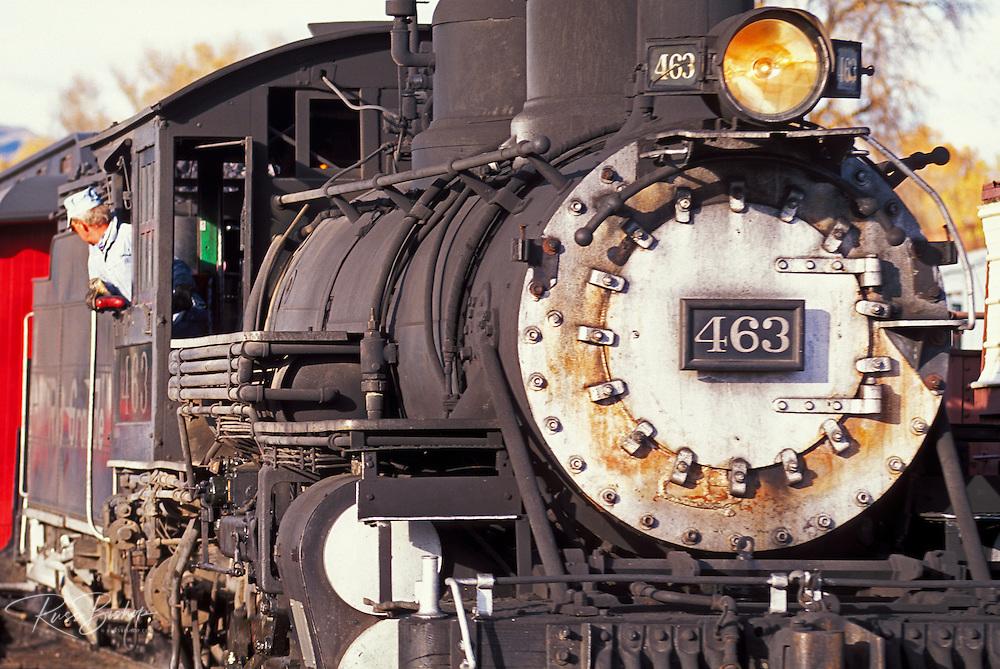 Steam train at the Cumbres and Toltec Scenic Railroad depot, Chama, New Mexico USA