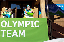 Peter Dokl and Klemen Bauer of Slovenia Biathlon team at Winter Olympic Games Sochi 2014 on February 6, 2014 in Sochi, Russia. Photo by Sportida