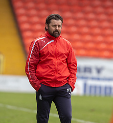 Falkirk's manager Paul Hartley. Dundee United 1 v 0 Falkirk, Scottish Championship played 14/4/2018 at Dundee United's stadium Tannadice Park.