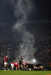 General view as steam rises during a British and Irish Lions and Maori All Blacks scrum in the Tour match at the Rotorua International Stadium.