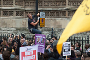 London, UK. Saturday 1st June 2013. Animal welfare demontrators in protest against the badger cull. The cull, which is being tested in two counties, is an attempt to control tuberculosis or TB in cows. A protester climbs a lampost to shout his anger at the cull.