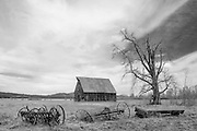 Olsen Barn and Olsen Dairy Farm Equipment, Lake Almanor, Chester California, Dyer Mountain, Sierra Nevada Mountains, Cascade Mountains