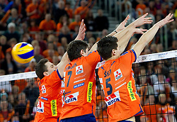 Andrej Flajs, Matevz Kamnik and Alen Sket of ACH during volleyball match between ACH Volley (SLO) and Jastrzebski Wegiel (POL) in 6th Round of 2011 CEV Champions League, on January 12, 2011 in Arena Stozice, Ljubljana, Slovenia. (Photo By Vid Ponikvar / Sportida.com)