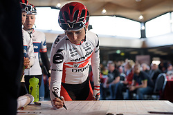 Christina Perchtold signs in at Ronde van Drenthe 2017. A 152 km road race on March 11th 2017, starting and finishing in Hoogeveen, Netherlands. (Photo by Sean Robinson/Velofocus)
