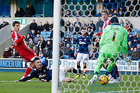 Middlesbrough's Jelle Vossen goes close with a shot but its ultimately saved by Millwall's David Forde<br /> <br /> Photographer Craig Mercer/CameraSport<br /> <br /> Football - The Football League Sky Bet Championship - Millwall v Middlesbrough - Saturday 6th December 2014 - The Den - London<br /> <br /> © CameraSport - 43 Linden Ave. Countesthorpe. Leicester. England. LE8 5PG - Tel: +44 (0) 116 277 4147 - admin@camerasport.com - www.camerasport.com