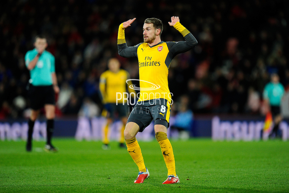Aaron Ramsey (8) of Arsenal puts his hands up after being flagged for offiside during the Premier League match between Bournemouth and Arsenal at the Vitality Stadium, Bournemouth, England on 3 January 2017. Photo by Graham Hunt.