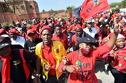 South Africa - Johannesburg - 13 October 2020 - The Economic Freedom Fighters(EFF) supporters gathered outside the Randburg Magistrate court where the party leader Julius Malema and spokesperson Mbuyiseni Ndlozi, appeared on charges for attack of  a police officer at the funeral of ANC stalwart Winnie Mandela at Orlando stadium in 2018.<br />Picture: Itumeleng English/African News Agency(ANA)
