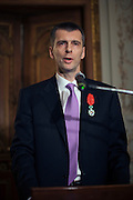 Moscow, Russia, 14/03/2011..Russian billionaire businessman Mikhail Prokhorov speaks after being awarded the Legion of Honour by ambassador Jean de Gliniasty at the French ambassador's residence.