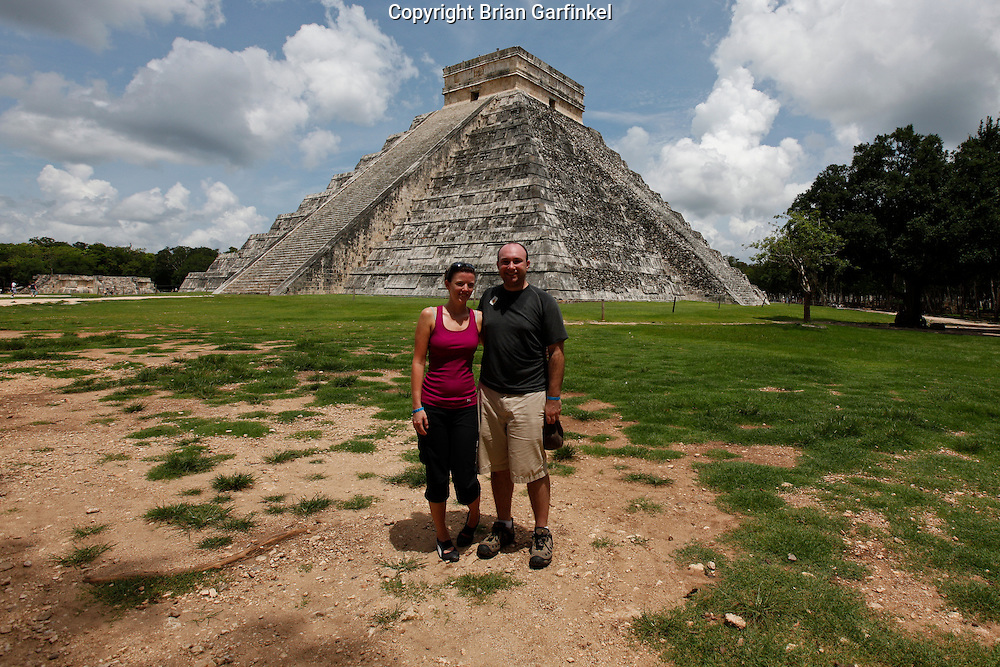 Brian and Allison in front of the main pyramid at Chichen Itza Mayan ruins near Piste, Mexico