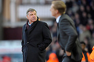 West Ham United Manager Sam Allardyce looks towards the home supporters. Barclays Premier league match, West Ham Utd v Swansea city at the Boleyn ground, Upton Park in London on Sunday 7th December 2014.<br /> pic by John Patrick Fletcher, Andrew Orchard sports photography.