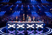 Editorial use only. No book publishing<br /> Mandatory Credit: Photo by Dymond/Thames/Syco/Shutterstock (9696726ij)<br /> David Walliams, Alesha Dixon, Amanda Holden, Simon Cowell, Stephen Mulhern and Declan Donnelly<br /> 'Britain's Got Talent' TV show, Series 12, Episode 10, London, UK - 30 May 2018